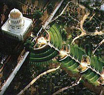 View of Bahai Gardens and Shrine.