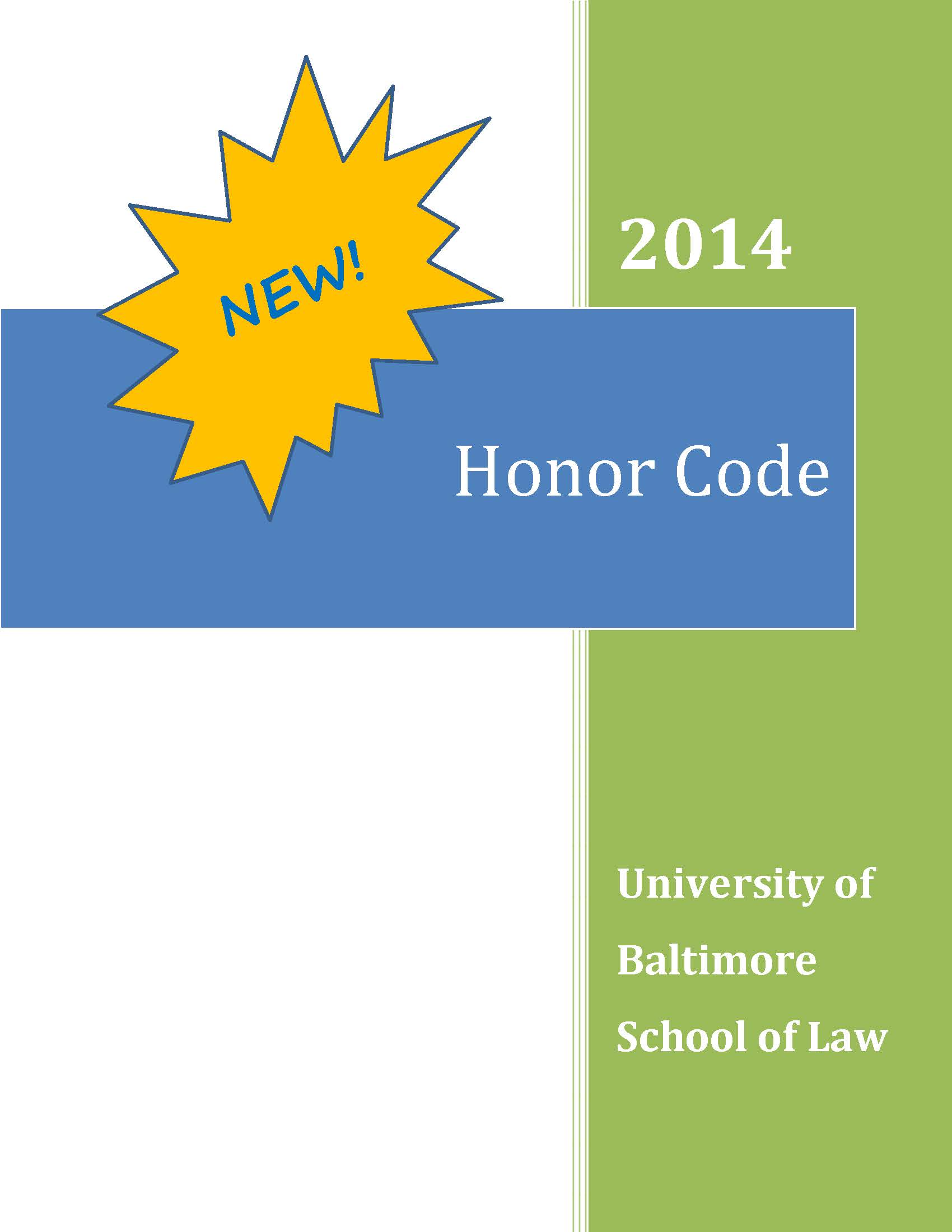Cover of the 2014 Honor Code