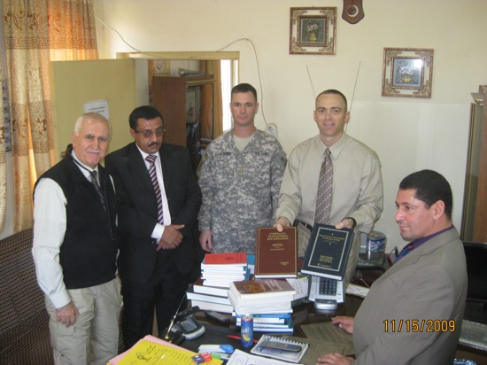 Shipment of books from the ILS book drive arriving in Iraq at the University of Tikrit