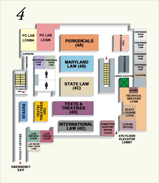 Law Library - Fourth Floor Map