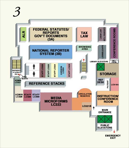 Law Library - Third Floor Map