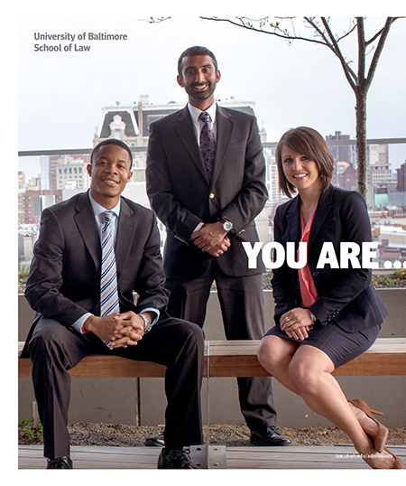The University of Baltimore School of Law admissions office viewbook, providing information for law students.
